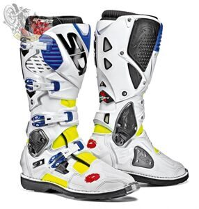 Мотоботы SIDI CROSSFIRE 3 WHITE BLUE YELLOW FLUO BOOTS