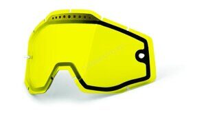 Линза 100% Racecraft/Accuri/Strata Vented Dual Pane Lens Anti-Fog Yellow